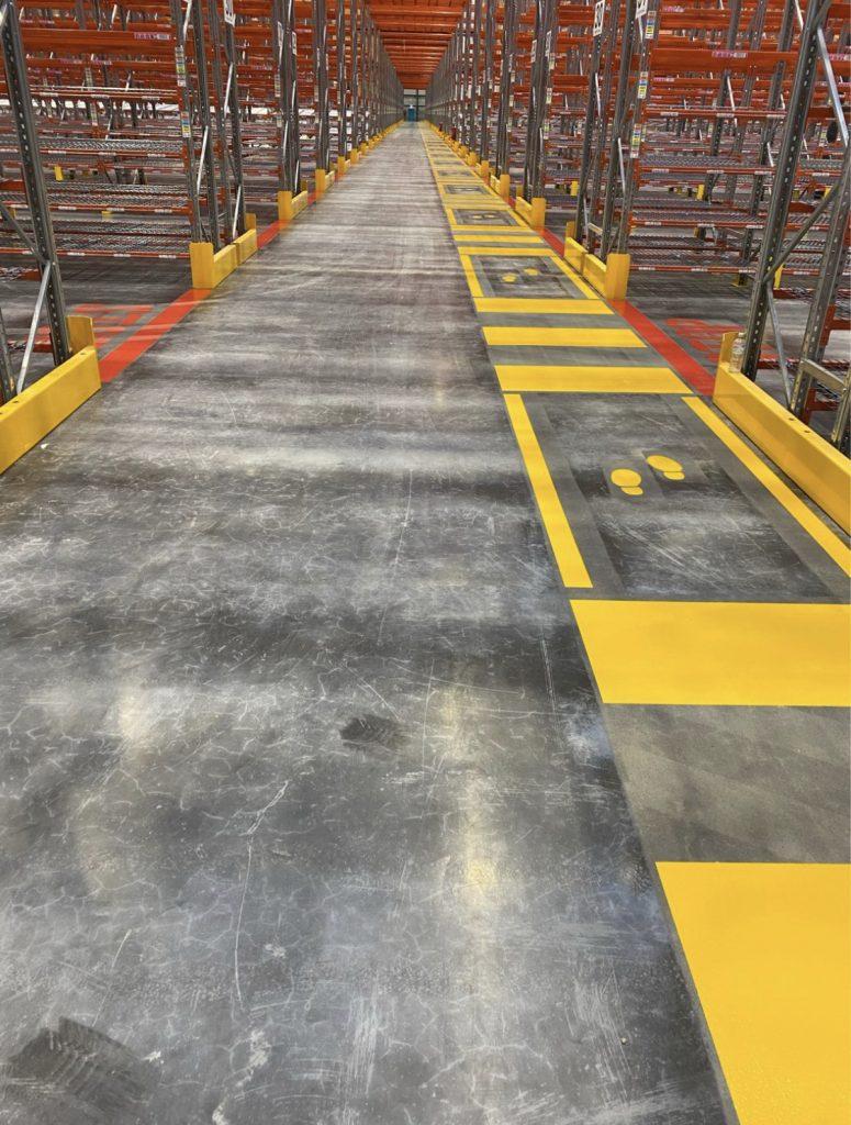 Walkway to storage spaces
